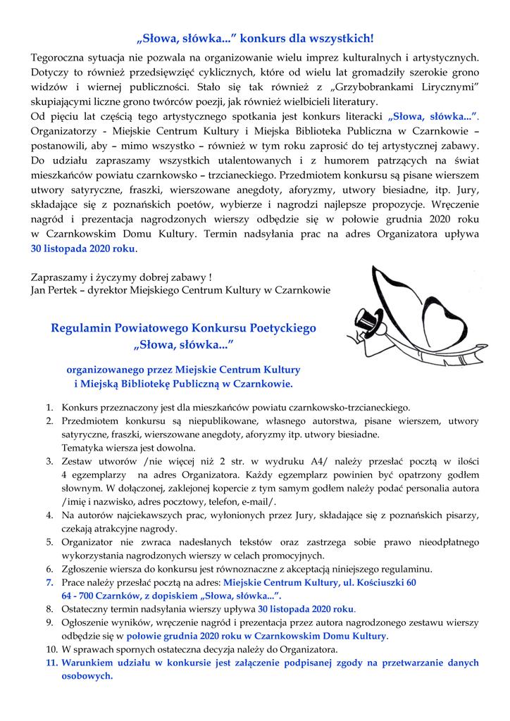Regulamin konkursu literackiego - Słowa, słówka...